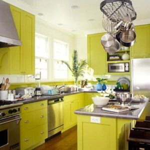 Decorating with green wallpaper wall decor source for Lime green kitchen wallpaper