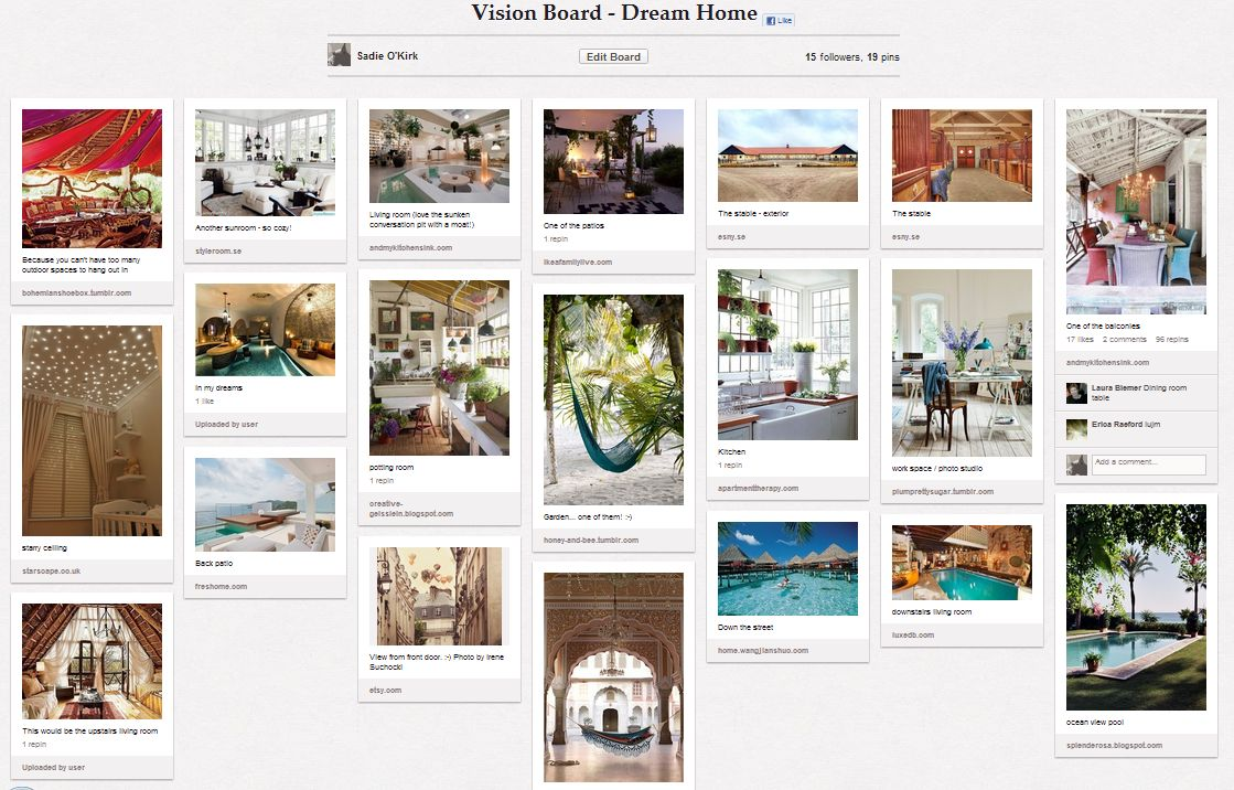 Cottage vision board,