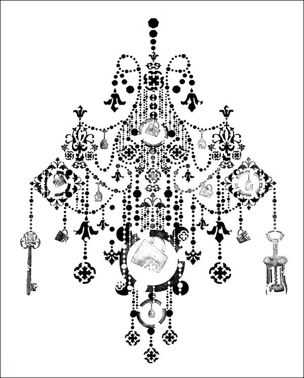 Chandeliers on the wall wall decor source chandelier stencil 2 chandelier stencil aloadofball Image collections