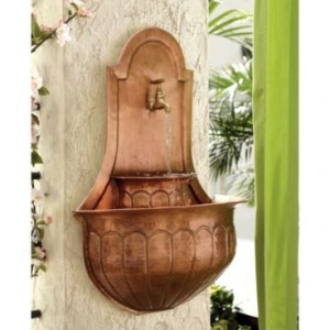 Copper outdoor wall fountain
